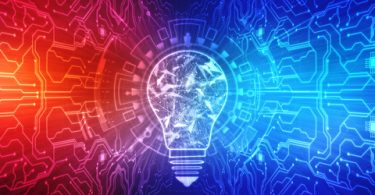 glowing light bulb with red and blue background representing intelligence