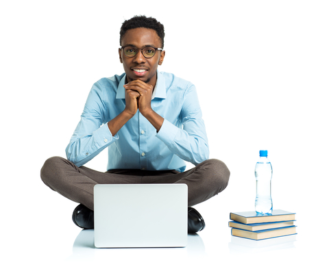 Happy African american college student with laptop, books and bottle of water sitting on white background