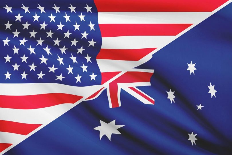 Australian and American flag blended together