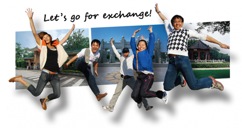 Let's go for exchange, College students celebrating study abroad programs, exchange site locations across the world