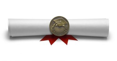 Diploma Masters Degree with Medal Isolated on White Background.