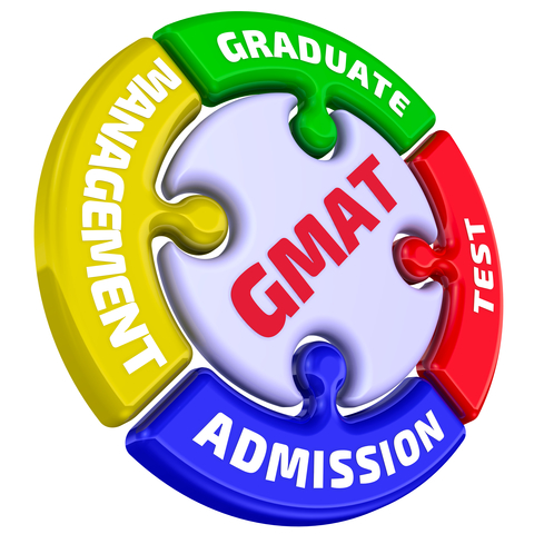 "The inscription ""GMAT. Graduate Management Admission Test"" on the puzzle in the shape of a circle."