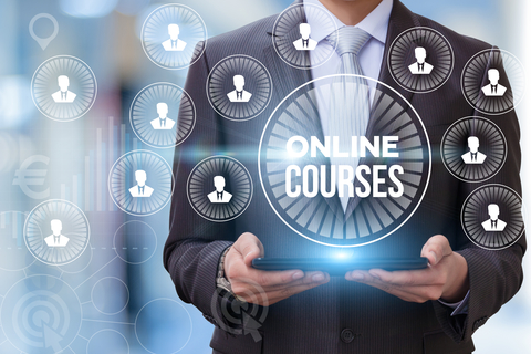 Online course show businessman on blurred background.