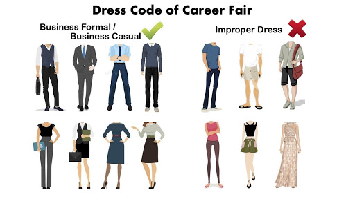 image of different clothing expectations for career fair