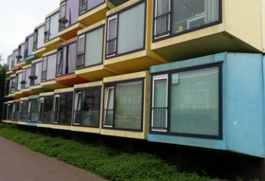 outside of multi-colored student housing building