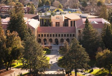 arial view of Stanford law school